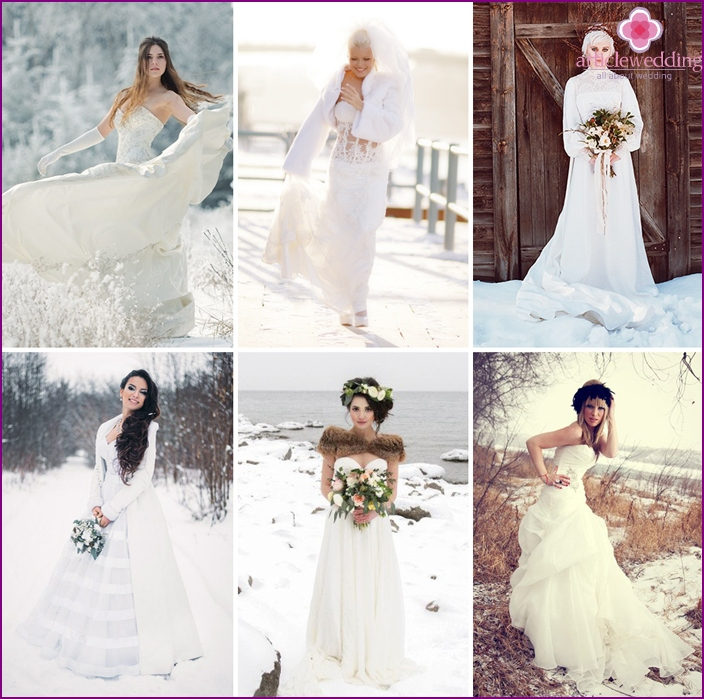Winter bride in a wedding dress