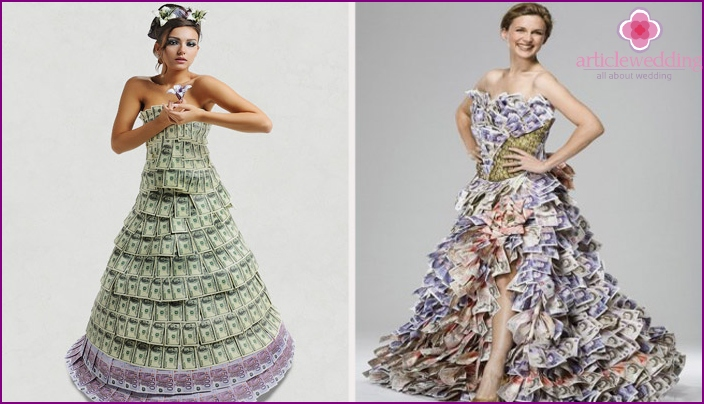 Clothes for a wedding made of money