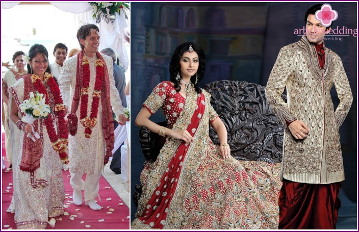 Indian newlyweds outfits