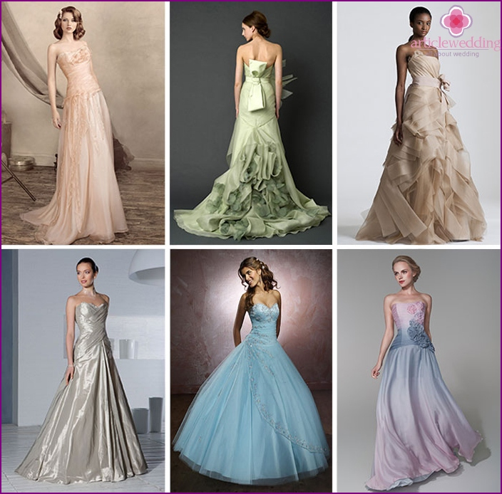Different fabrics and colors of the bride's dress