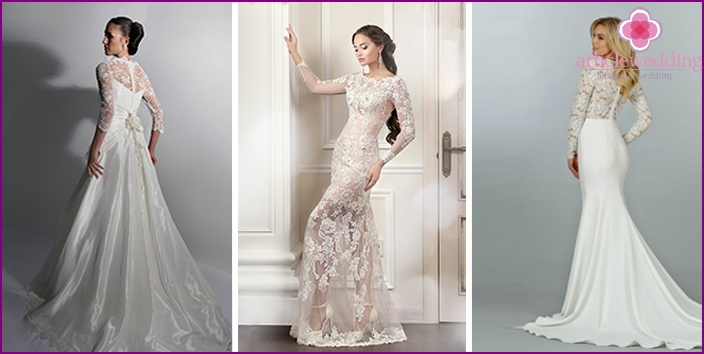 Wedding dresses with long translucent sleeves