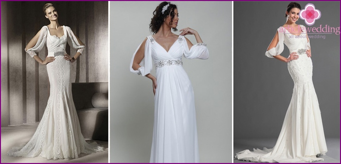 The original sleeve with a slit on a wedding dress