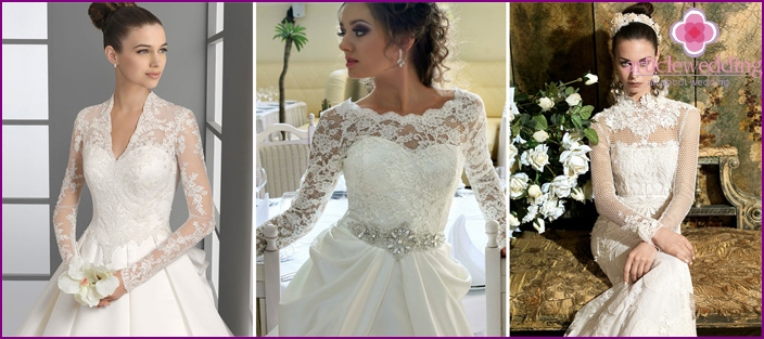 Geschlossene Brautkleider mit langen Ärmeln