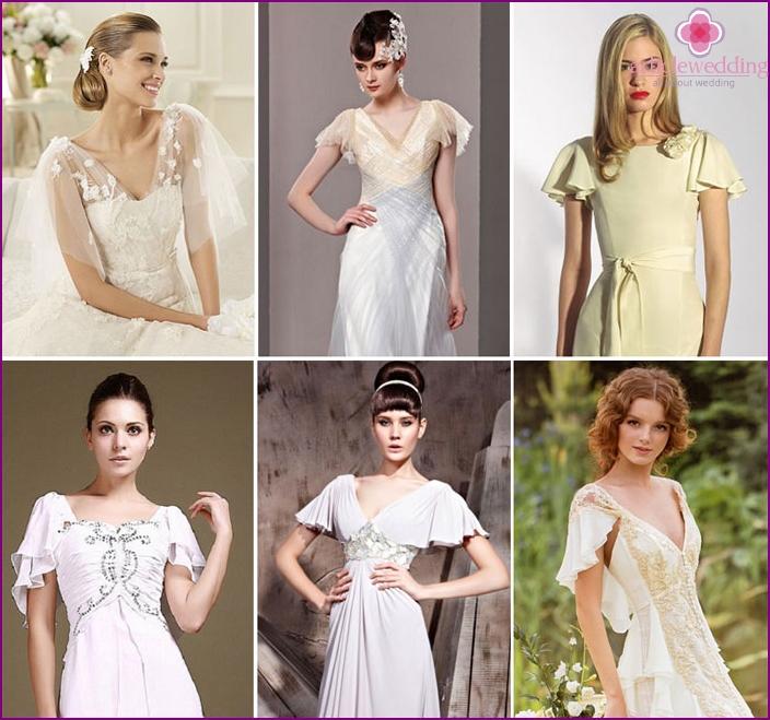 Short petal sleeve wedding dress
