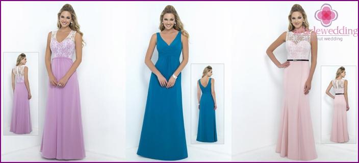 Harmonious evening dresses of bridesmaids
