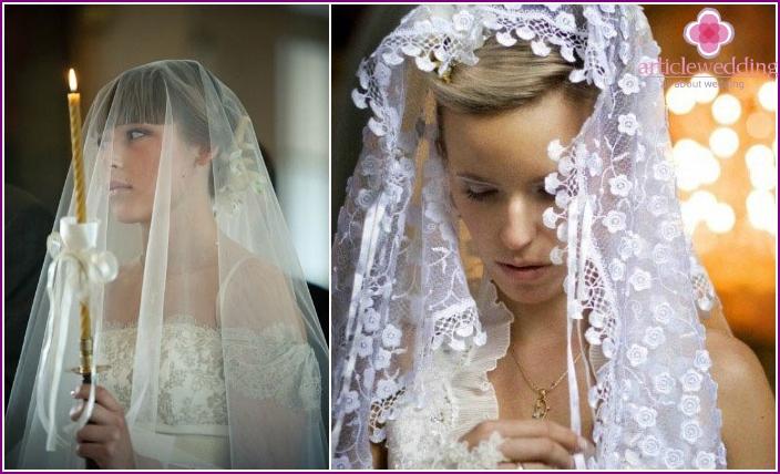 Kopfbedeckungen in Brautkleidern