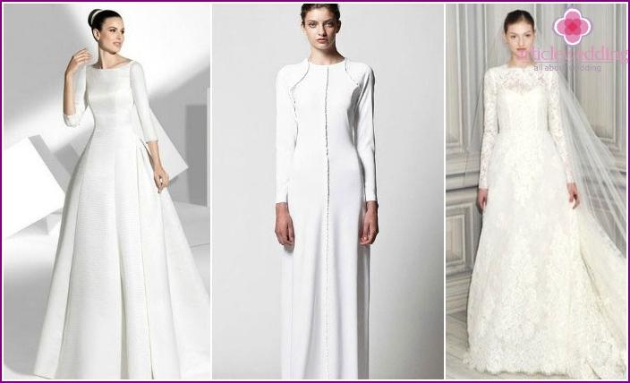 Geschlossene Kleider für Bräute in der Kirche