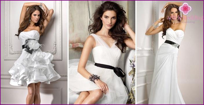 Black belt on models for the bride