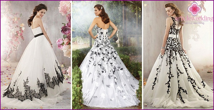 Black and white colors on bridal models.