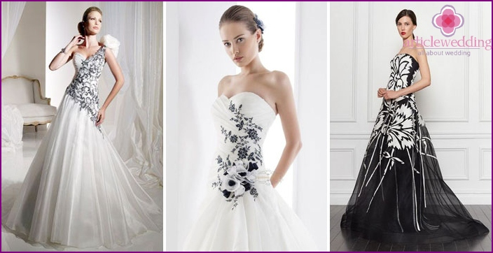 Dark flowers on a white wedding dress