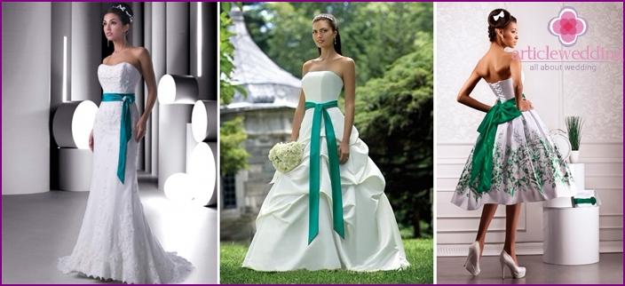 Bow belt: white-green wedding attire