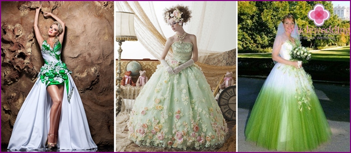 White-green dresses for the bride: floral decor