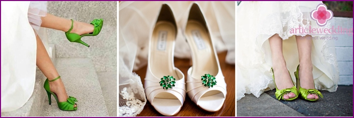 Bride's shoes to a white-green dress