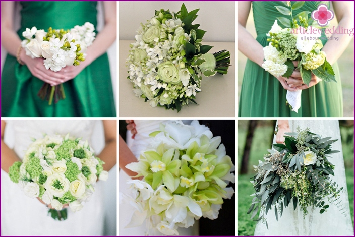 Bridal bouquet: white-green harmony