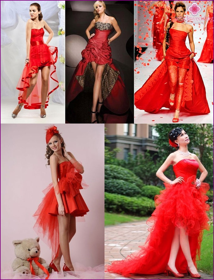 Wedding look: short red dress with a train