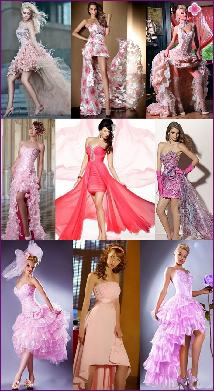 Short pink dresses with a bridal train