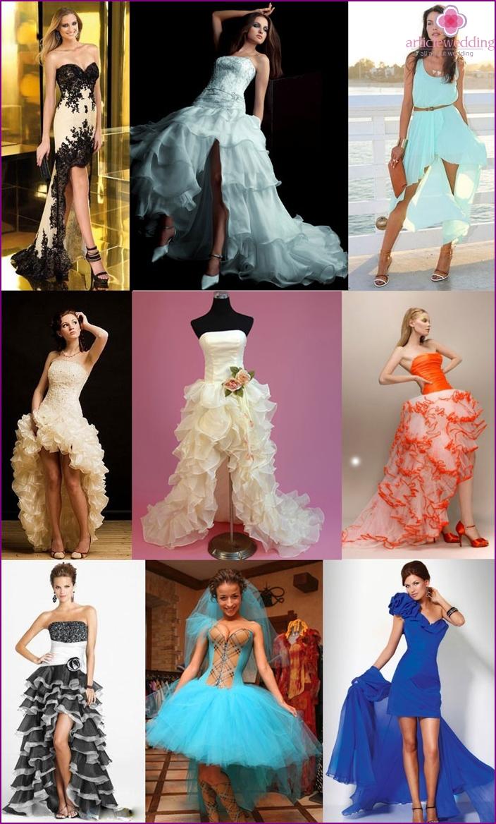 Fancy short wedding dresses with a train