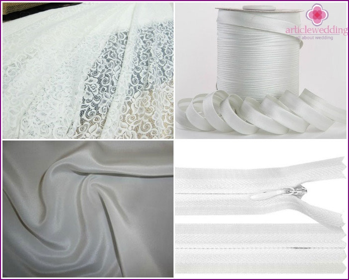 Materials for sewing a lace dress of the bride