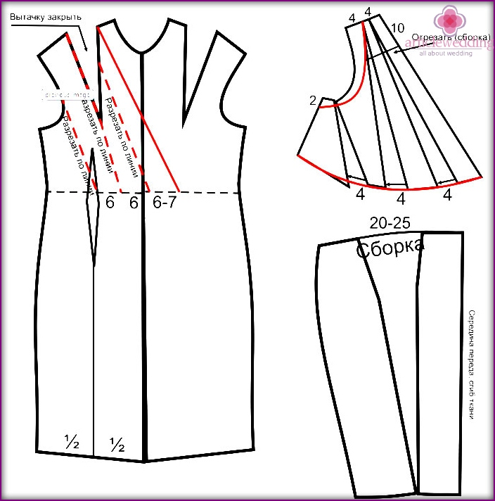 Pattern of the front of a Greek wedding dress