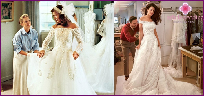 Trying on a short bride's wedding dress