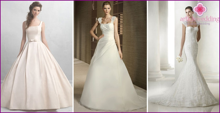 Dresses for the bride with shoulder straps