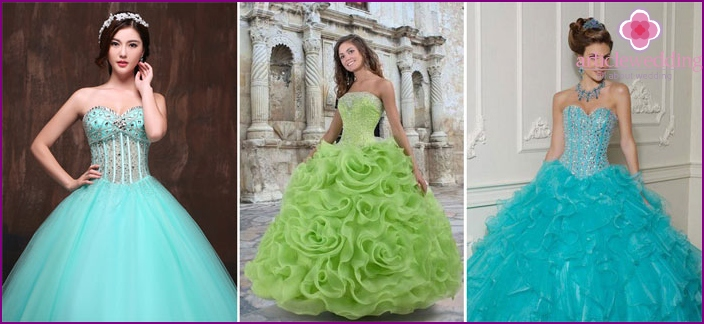 Colored dresses for the bride with stones