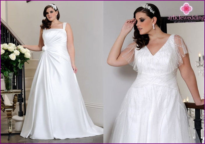The dress for the full bride is trapezoidal