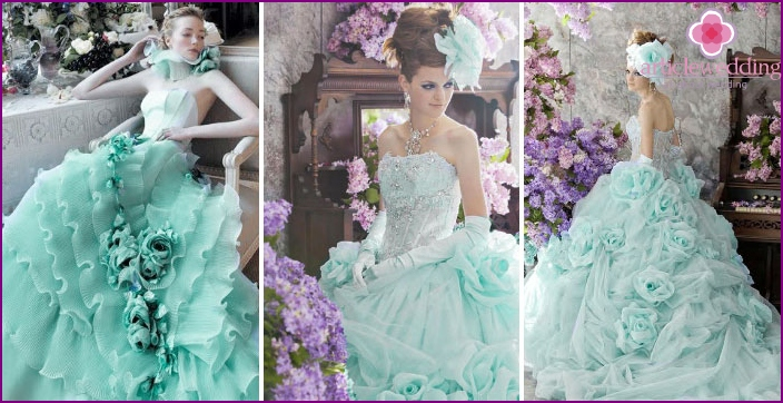 Turquoise ruffle wedding dress