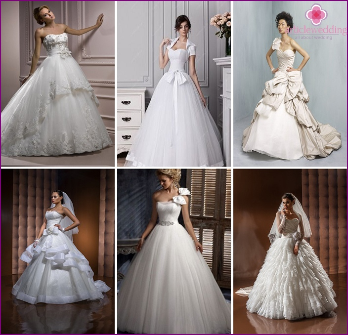 Ball gowns for the bride with bows