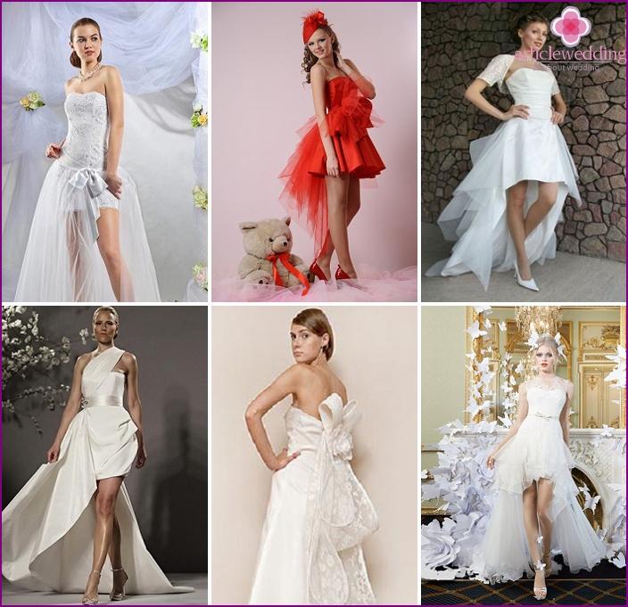 Bogenzug in Brautkleidern
