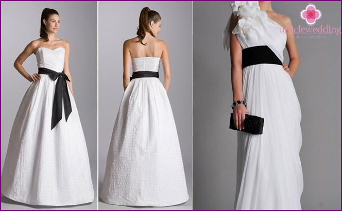 White dress with a wide black belt