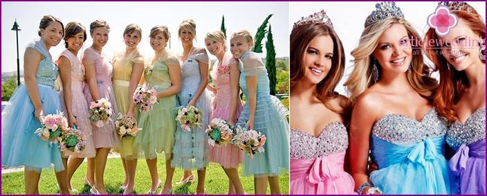 Freundinnen im Bild von bunten Prinzessinnen