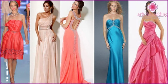 Stylish evening dresses for a wedding