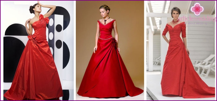 Red bridal A-line outfit