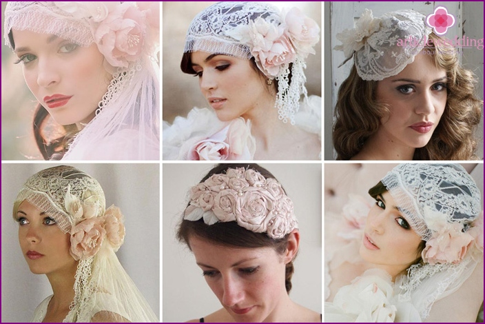 Fabric flower - spectacular decor of the bride's beanie