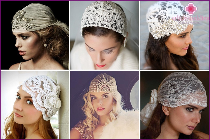 Hat with rhinestones for the bride