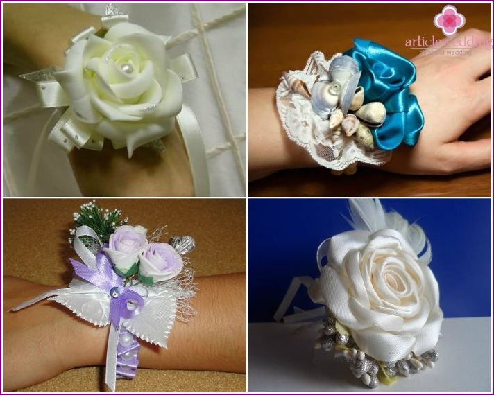 Wedding boutonnieres made of satin ribbons and fabric