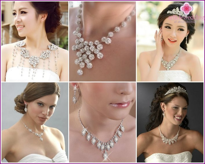 Newlywed necklaces decorated with Swarovski crystals