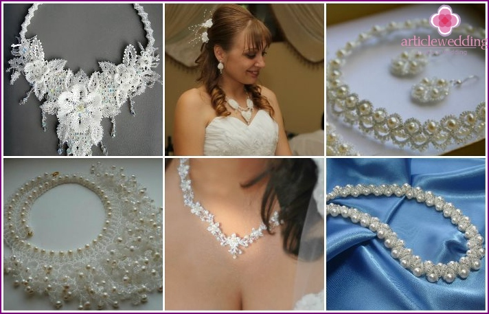 Beaded bride and groom necklace