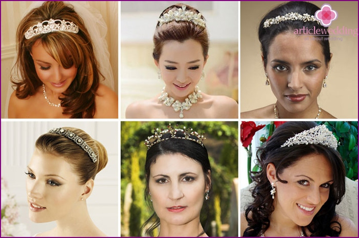 Tiara with beads and pearls for the bride