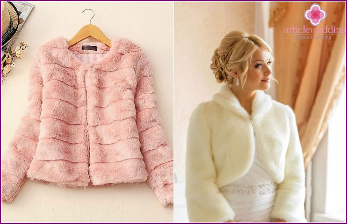 Pink and milky colors of wedding fur coats