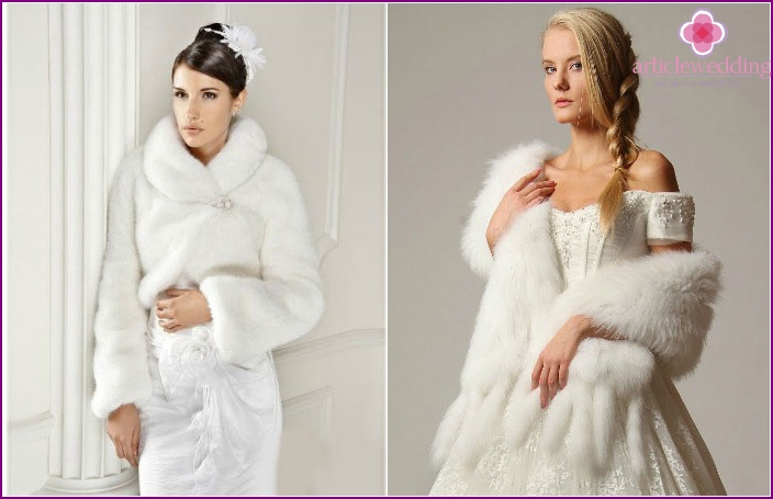 Mink fur products for a wedding celebration