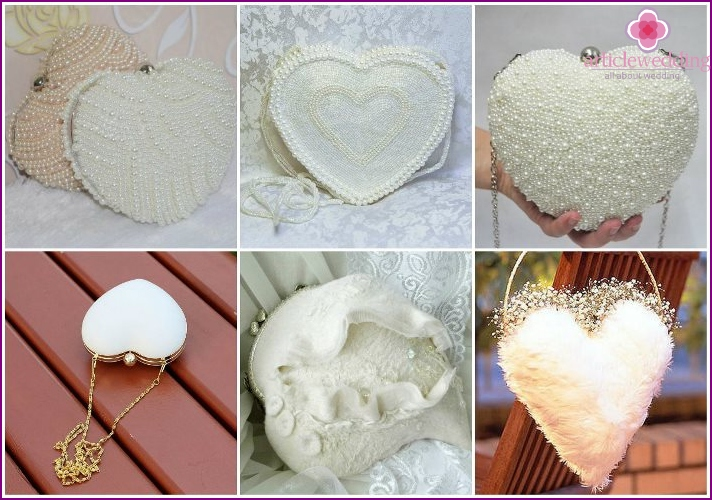 Handbag in the shape of a heart for the image of the bride