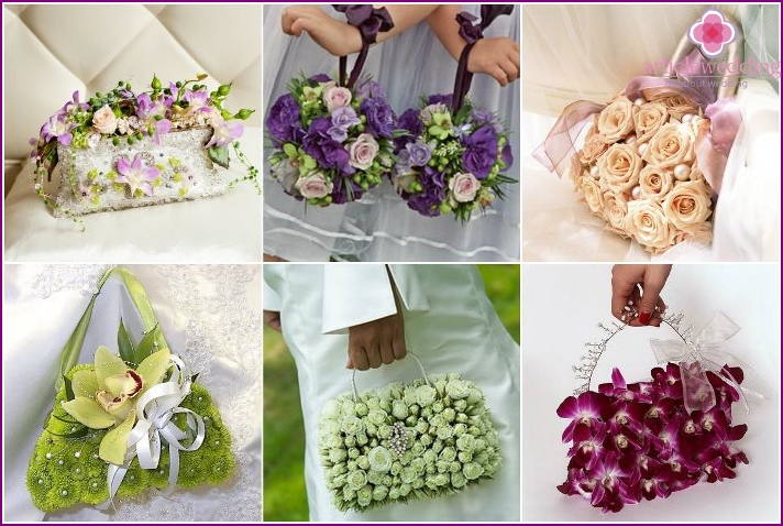 Decoration of the bride's handbag with fresh flowers