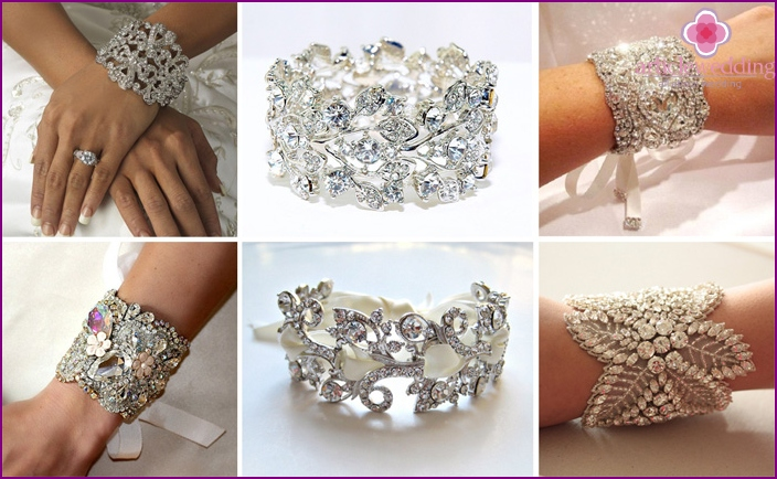 Wide bracelet with rhinestones for a wedding