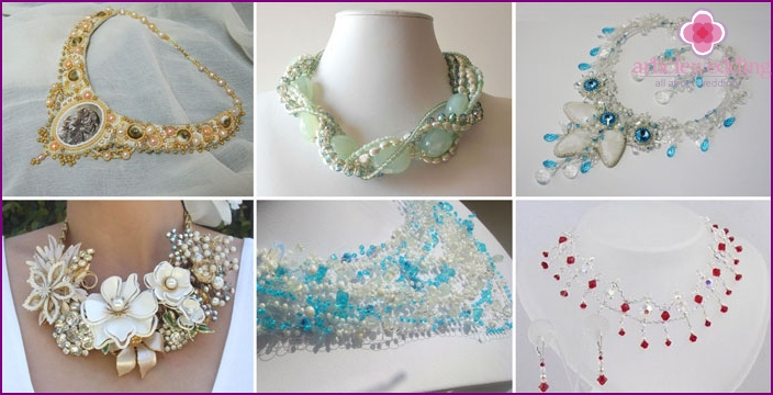 Wedding necklace made of beads and stones