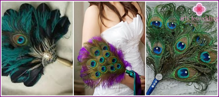 Fans of peacock feathers for the bride
