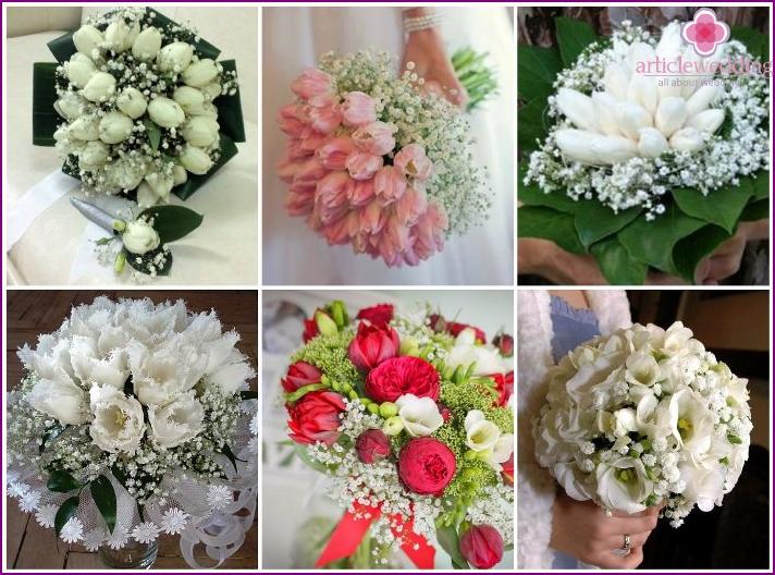 Wedding arrangement with tulips and gypsophila