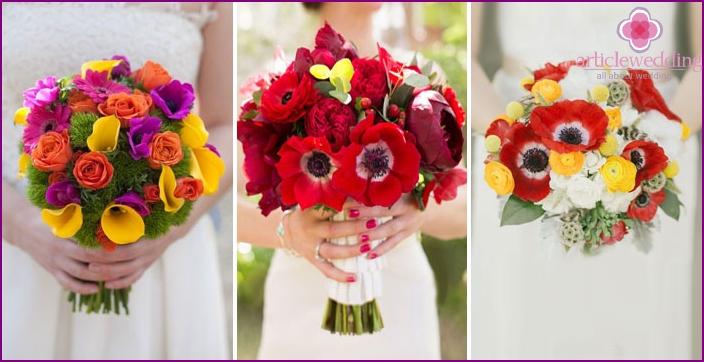 Zarte Hochzeitssträuße in verschiedenen Farben