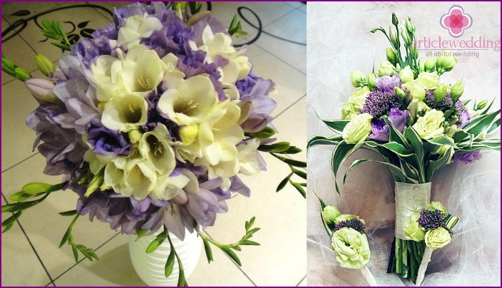 The combination of freesia with lisianthus in a wedding bouquet